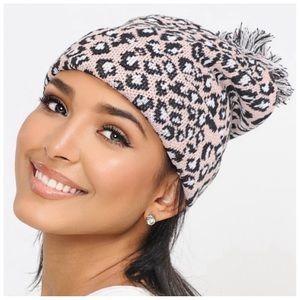 Blush leopard print Pom beanies